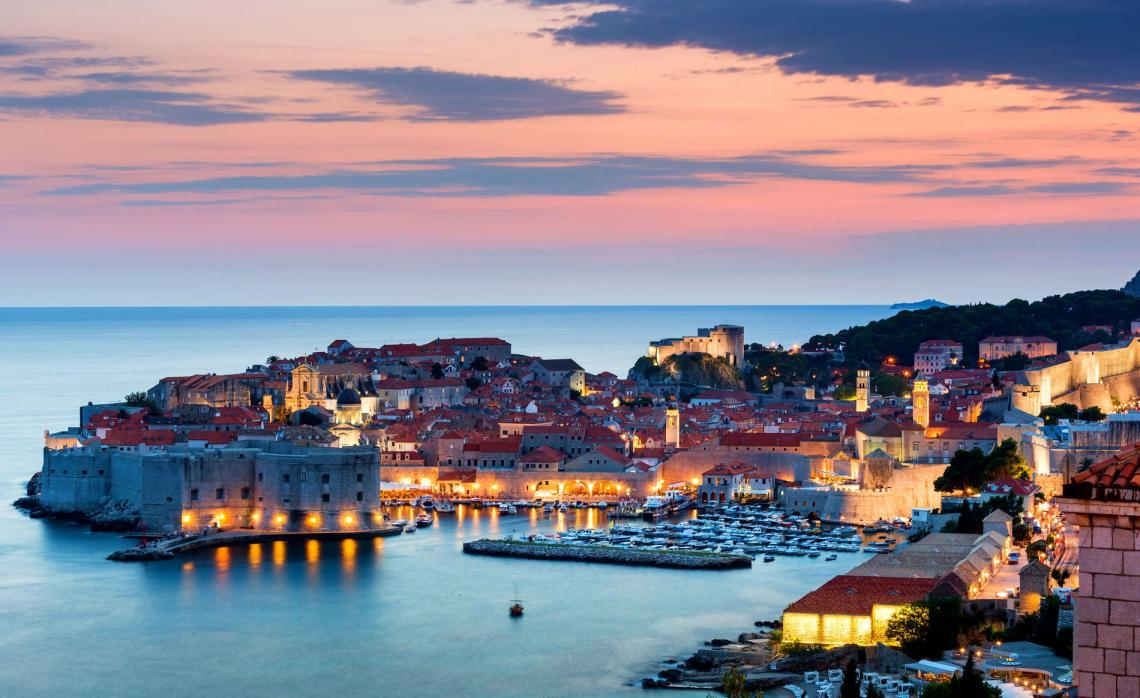 Sunset at yacht harbour in Dubrovnik